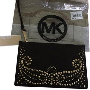 NWT Michael Kors Rhea Studded Lg Zip Clutch